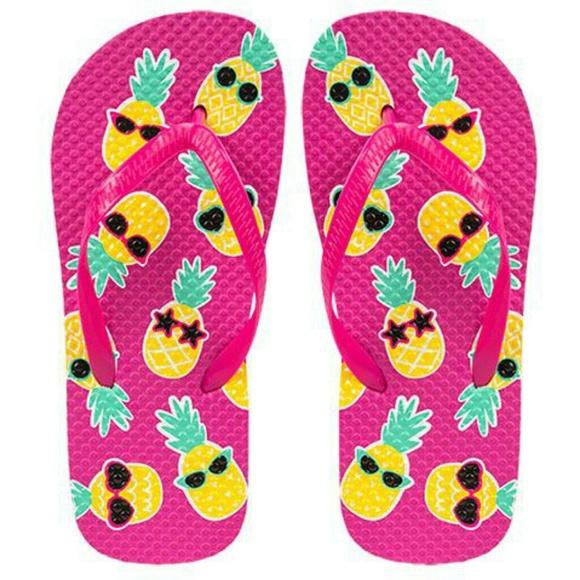 64b8fac4e7ec Girl Kids Pink Cool Pineapple Flip Flop Slippers